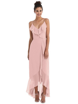 Ruffle-Trimmed V-Neck High Low Wrap Dress Thread Bridesmaid Style TH040 in 64 colors