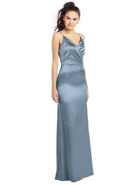 Slim Spaghetti Strap Wrap Bodice Trumpet Gown by Thread Bridesmaid Style TH022 in 35 colors in Slate