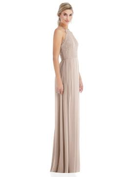 Tie-Neck Lace Halter Pleated Skirt Maxi Dress Thread Bridesmaid Style TH053