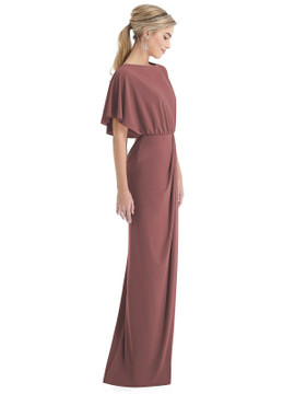 Open-Back Three-Quarter Sleeve Draped Tulip Skirt Maxi Dress Thread Bridesmaid Style TH045