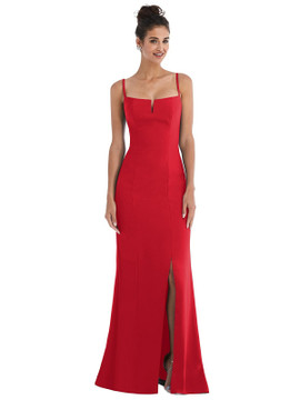 Notch Crepe Trumpet Gown with Front Slit Thread Bridesmaid Style TH049 in Flame