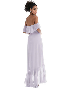 Off-the-Shoulder Ruffled High Low Maxi Dress Thread Bridesmaid Style TH039