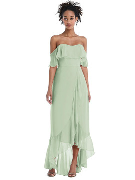 Off-the-Shoulder Ruffled High Low Maxi Dress Thread Bridesmaid Style TH039  in 64 colors in celadon