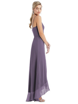 Scoop Neck Ruffle-Trimmed High Low Maxi Dress Thread Bridesmaid Style TH041