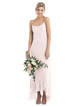 Scoop Neck Ruffle-Trimmed High Low Maxi Dress Thread Bridesmaid Style TH041  in 64 colors in Blush