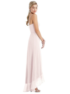Scoop Neck Ruffle-Trimmed High Low Maxi Dress Thread Bridesmaid Style TH041  in 64 colors
