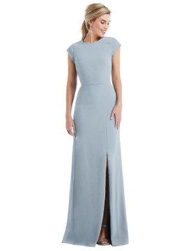 Cap Sleeve Open-Back Trumpet Gown with Front Slit Thread Bridesmaid Style TH051