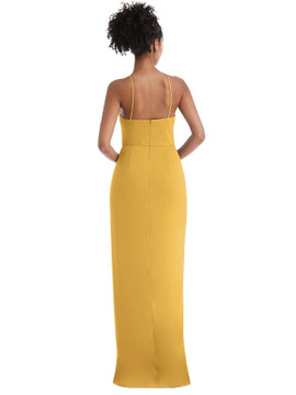 Halter Draped Tulip Skirt Maxi Dress Thread Bridesmaid Style TH044  in 35 colors