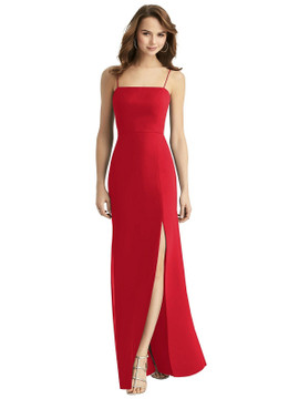 Tie-Back Cutout Trumpet Gown with Front Slit Thread Bridesmaid Style TH013 in 64 colors