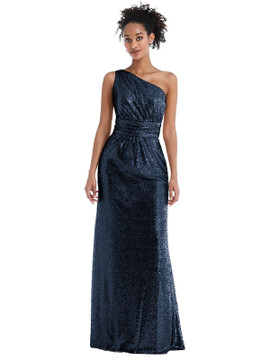 One-Shoulder Draped Sequin Maxi Dress by Thread Bridesmaid Style TH058  in 7 colors