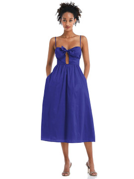 Bow-Tie Cutout Bodice Midi Dress with Pockets by Thread Bridesmaid Style TH070 in 28 colors eletric blue