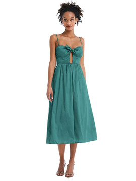 Bow-Tie Cutout Bodice Midi Dress with Pockets by Thread Bridesmaid Style TH070 in 28 colors treasure