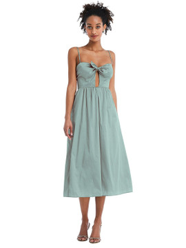 Bow-Tie Cutout Bodice Midi Dress with Pockets by Thread Bridesmaid Style TH070 in 28 colors atlatis