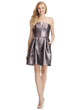 Metallic Strapless Notch Cocktail Dress with Pockets by Thread Bridesmaid Style TH024 in 4 colors shimmering
