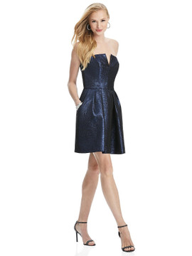 Metallic Strapless Notch Cocktail Dress with Pockets by Thread Bridesmaid Style TH024 in 4 colors in blue moon