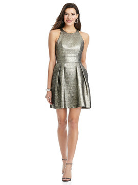 Metallic Halter Cocktail Dress with Pockets by Thread Bridesmaid Style TH023 in 4 colors in gold fusion