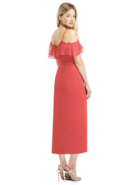 Cold-Shoulder Ruffled Wrap Dress by Jenny Packham Dress JP1041 in 64 colors