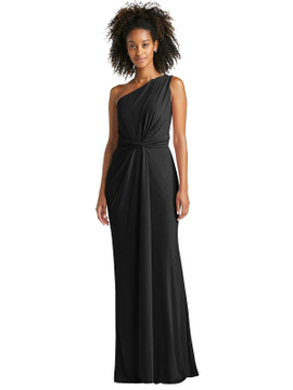 One-Shoulder Draped Trumpet Maxi Dress by Jenny Packham Dress JP1059 in 7 colors