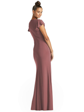 Flutter Sleeve Draped Wrap Trumpet Gown by Jenny Packham Dress JP1060 in 7 colors