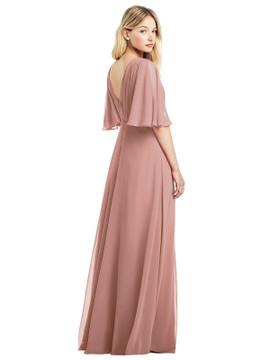 Long Flutter Sleeve Chiffon Dress with Pleat Detail by Jenny Packham Dress JP1037 in 64 colors