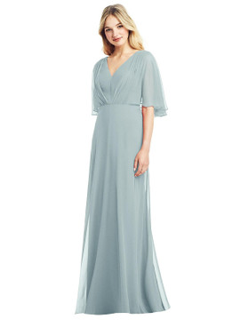 Long Flutter Sleeve Chiffon Dress with Pleat Detail by Jenny Packham Dress JP1037 in 64 colors in morning sky
