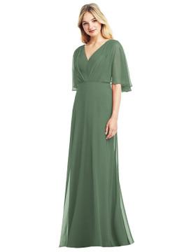 Long Flutter Sleeve Chiffon Dress with Pleat Detail by Jenny Packham Dress JP1037 in 64 colors in vineyard green