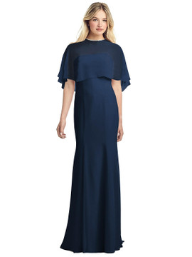 Strapless Chiffon Gown with Jewel-Trimmed Capelet by Jenny Packham Dress JP1038 in 64 colors