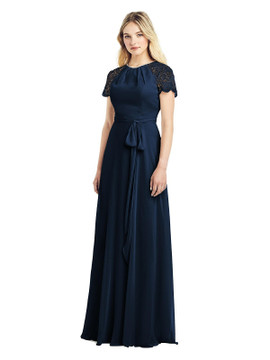 Cap Sleeve Jewel-Neck Lace and Chiffon Gown by Jenny Packham Dress JP1038 in 64 colors