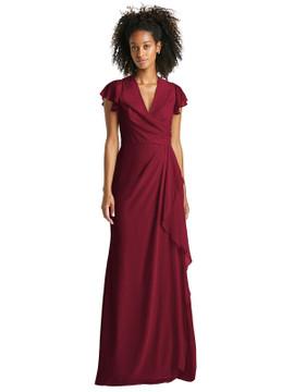 Flutter Sleeve Draped Wrap Maxi Dressby Jenny Packham Dress JP1045 in 64 colors