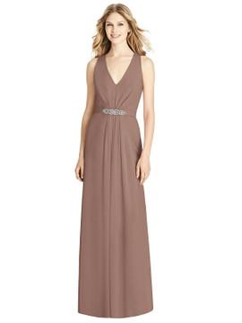 Sleeveless Jeweled Belt Twist Strap Dress by Jenny Packham Dress JP1002 in 33 colors in Sienna