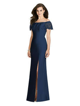 Lace Ruffle Cold Shoulder Trumpet Gown with High Leg Slit by Bella Bridesmaids BB119 in 7 colors