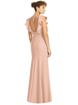 Ruffle Cap Sleeve Open-back Trumpet Gown by Studio Design 4539 in 31 colors