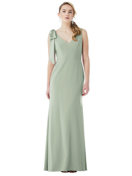 Bow-Shoulder V-Back Trumpet Gown by Dessy Bridesmaid 3071 in 17 colors