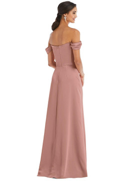 Off-the-Shoulder Draped Neckline Maxi Dress by Dessy Bridesmaid 3079 in 17 colors