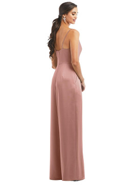 Cowl-Neck Spaghetti Strap Maxi Jumpsuit with Pockets by Dessy Bridesmaid 3080 in 17 colors
