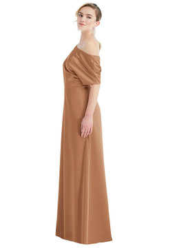 One-Shoulder Sleeved Blouson Trumpet Gown by Dessy Bridesmaid 3076 in 17 colors in toffee