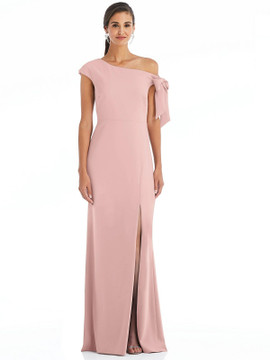 Off-the-Shoulder Tie Detail Trumpet Gown with Front Slit by Dessy Bridesmaid 3073 in 34 colors