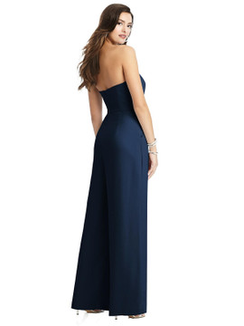 Strapless Notch Crepe Jumpsuit with Pockets by Dessy Bridesmaid 3066 in 34 colors