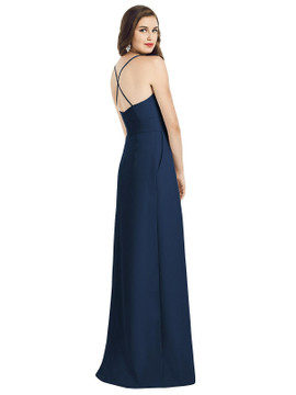 Criss Cross Back Crepe Halter Dress with Pockets Dessy Bridesmaid 3058 in 35 colorsin 34 colors