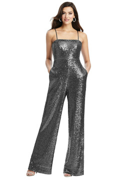 Sequin Jumpsuit with Pockets - Alexis by Dessy Bridesmaid 3048 in 7 colors