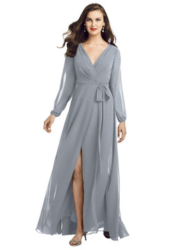 Long Sleeve Wrap Maxi Dress with Front Slit by Dessy Bridesmaid 3049 in 35 colors platinum