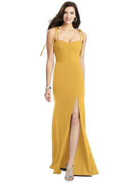 Crepe Gown with Adjustable Bow Straps Dessy Bridesmaid 3070 in 34 colors