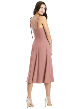 Bustier Crepe Midi Dress with Adjustable Bow Straps by Dessy Bridesmaid 3069 in 34 colors