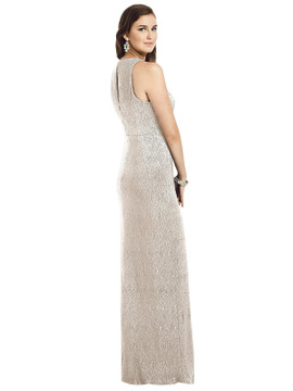 Sleeveless Scoop Neck Metallic Trumpet Gown By Dessy Bridesmaid 3063 in 4 colors