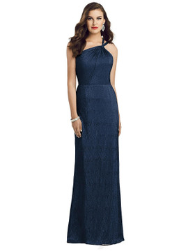 One-Shoulder Twist Metallic Trumpet Gown By Dessy Bridesmaid 3064 in 4 colors
