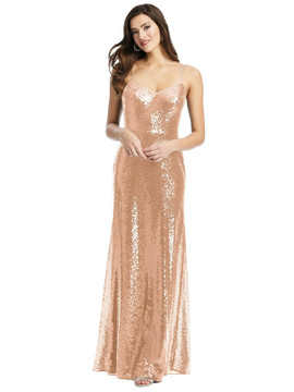 Spaghetti Strap Sequin Gown with Flared Skirt By Dessy Bridesmaid 3068 in 7 colors