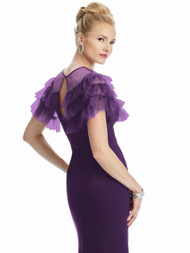 Tiered Ruffle Tulle Capelet By Dessy Bridesmaid J514  in 15 colors