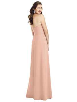 Strapless Pleated Skirt Crepe Dress with Pockets by Dessy Bridesmaid 3059 in 34 colors