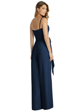 Spaghetti Strap Crepe Jumpsuit with Sash - Alana by Dessy Bridesmaid 3059 in 35 colors