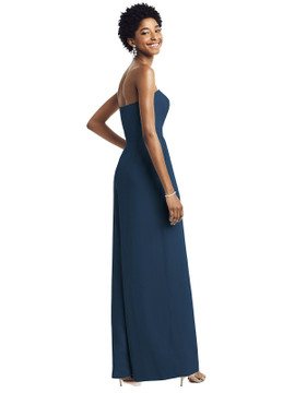 Strapless Chiffon Wide Leg Jumpsuit with Pockets by Dessy Bridesmaid 3065 in 64 colors